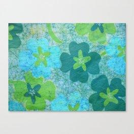 Floral batik in blues and greens Canvas Print