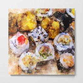 Sushi board - watercolor Metal Print