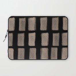 Brush Strokes Vertical Lines Nude on Black Laptop Sleeve