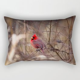 Cardinal - Bright Red Male Bird Rests in Raindrops Rectangular Pillow