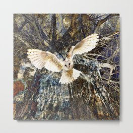 White Owl Woodland Metal Print