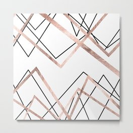 Rose Gold White Linear Triangle Abstract Pattern Metal Print
