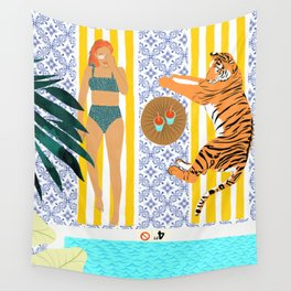 How To Vacay With Your Tiger #illustration Wall Tapestry