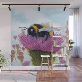 Bumblebee on a Thistle Wall Mural