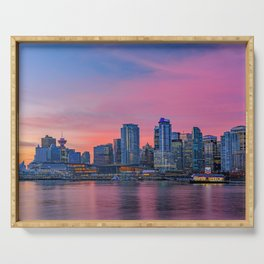 Downtown Vancouver During Autumn Sunrise Serving Tray