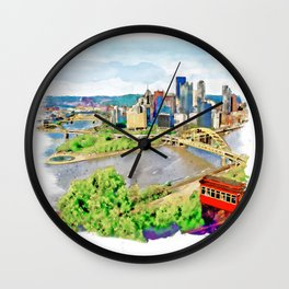 Pittsburgh Aerial View Wall Clock