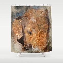 Elephant Watercolour Shower Curtain