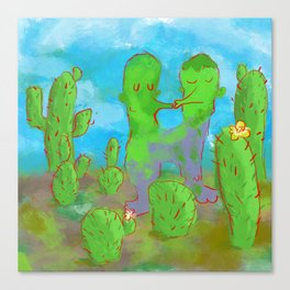 Kissing Cactus Canvas Print