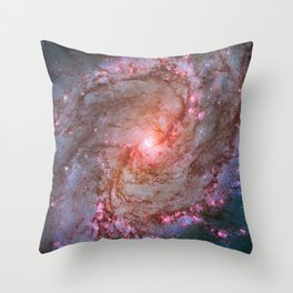 Spiral Galaxy, Space, Southern Pinwheel in Pink and Blue- A View of the Stars Throw Pillow