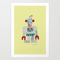 50s Art Prints featuring strumm 50s robot  by blossyfloss