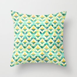 Quilted Diamond // Geometric Watercolor Pattern Throw Pillow