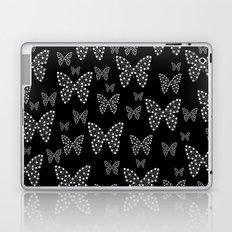 Black and White Butterflies Flowers Pattern Laptop & iPad Skin