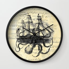 Kraken Octopus Attacking Ship Multi Collage Background Wall Clock