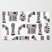 robots Area & Throw Rugs featuring Robots  by Emma Joy Designs