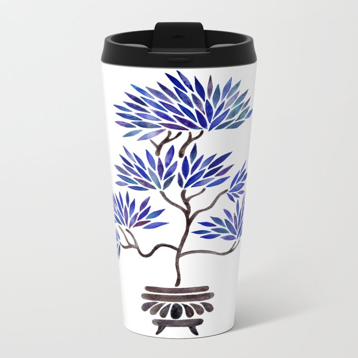 Bonsai Tree – Navy Palette Metal Travel Mug