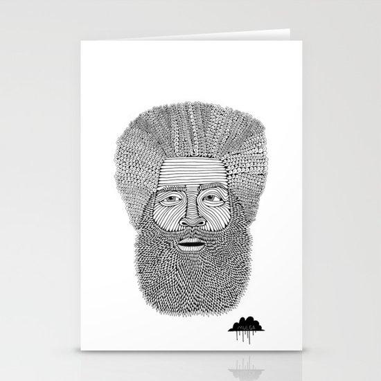 Afro Beard Man Stationery Cards