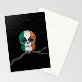 Baby Owl with Glasses and Irish Flag Stationery Cards