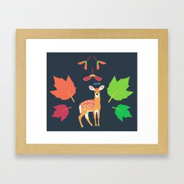 White-tailed Deer + Red Maple Framed Art Print