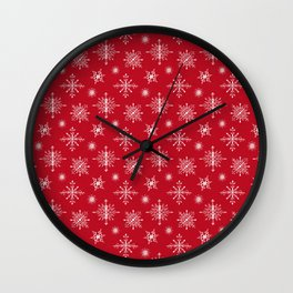 Snowflakes on Christmas red Wall Clock