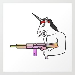 Unicorn muscles weapon fighter soldier shooting rainbow rambo gift Art Print