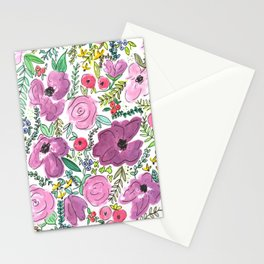 Purple Floral Design - Watercolor Painting  Stationery Cards
