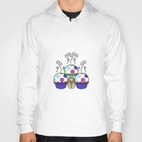 polkadot Hoodies featuring Cute Monster With Pink And Blue Polkadot Cupcakes by Mydeas