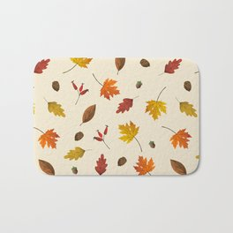 Autumn ivory gold brown fall leaves pattern Bath Mat
