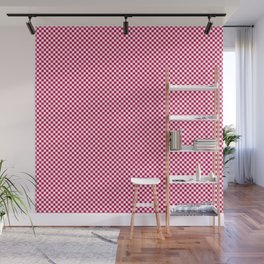 Bright Pink Peacock and White Mini Check 2018 Color Trends Wall Mural