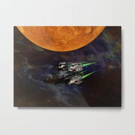 Starship In The Cosmos Metal Print