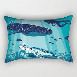 Belize Travel poster vintage tropical reef Rectangular Pillow
