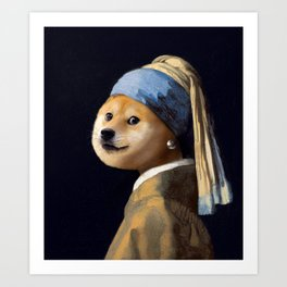 Doge with a Pearl Earring Art Print