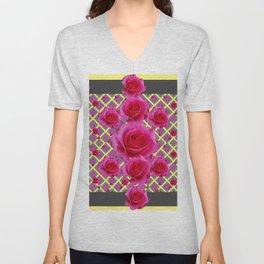 Fuchsia Roses Yellow-Grey Art Unisex V-Neck