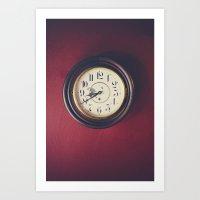 wall clock Art Prints featuring Old wall clock by Elisabeth Coelfen