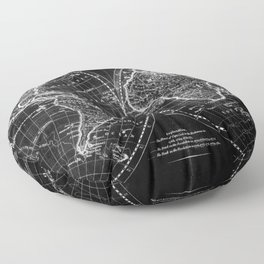 Black and White World Map (1795) Inverse Floor Pillow
