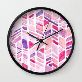 Pink Geometric Hand-painted Pattern Wall Clock