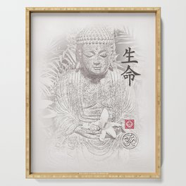 Find Your Bliss {Black & White} Buddha Art Print Serving Tray