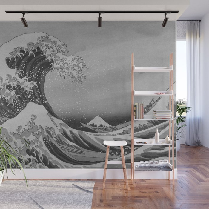 Black White Japanese Great Wave off Kanagawa by Hokusai Wall Mural