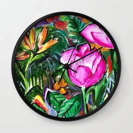 Etude with Tropical Flowers Wall Clock