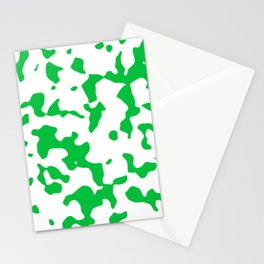 Large Spots - White and Dark Pastel Green Stationery Cards