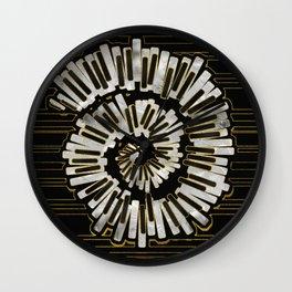 Marble Golden Framed Piano Keys composition on black Wall Clock