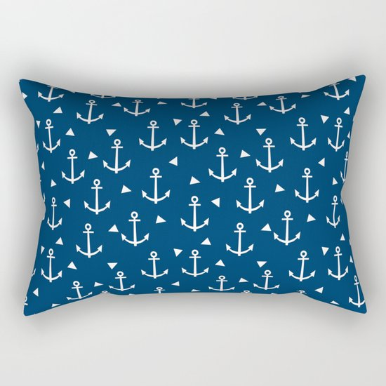Anchors and triangles minimal navy and white trendy sailing pattern sailor print Rectangular Pillow