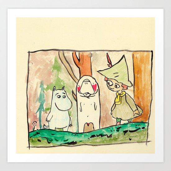 Manatee and The Moomins Art Print