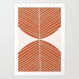 Minimal Fall Leaf Dark Orange Art Print