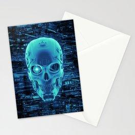 Gamer Skull BLUE TECH / 3D render of cyborg head Stationery Cards