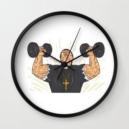 Ripped Priest Exercise Dumbbell Drawing Wall Clock