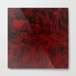 dark red art flower in stone Metal Print
