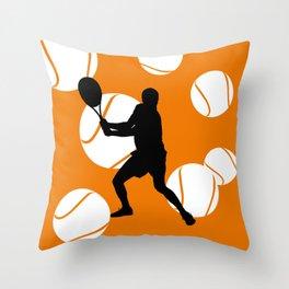 TENNIS Clay Backhand Balls Throw Pillow