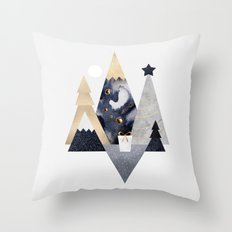 Christmas Mountains Throw Pillow