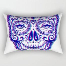 Sugar Skull (Calavera) Chromatic Aberration - Cyan Magenta Rectangular Pillow