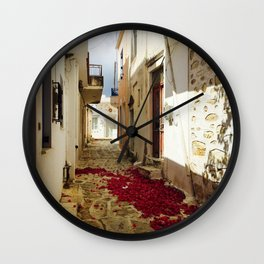 Streets of Greece Wall Clock